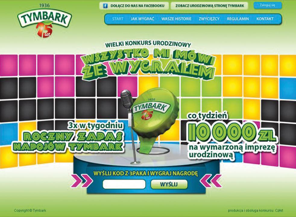 Wsparcie marketingowe w postaci landing page dla promocji konsumenckiej marki Tymbark