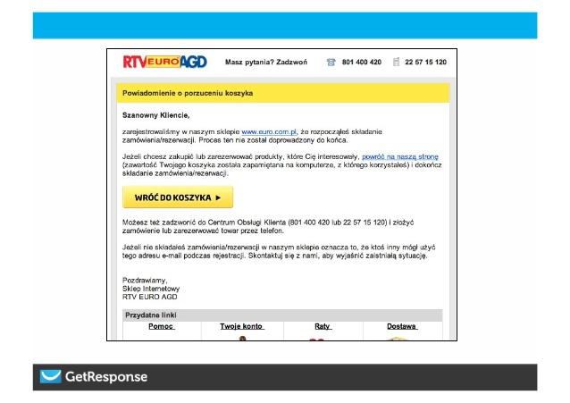 Tak może wyglądać przykładowy e-mail skierowany do klienta