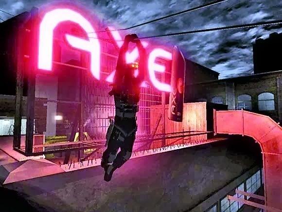 Świecący neon w grze Splinter Cell: Chaos Theory jako reklama firmy Axe