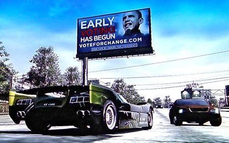 Billboard z Obamą umieszczony w grze Burnout Paradise