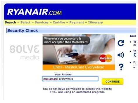 Reklama natywna na stronie Ryanair