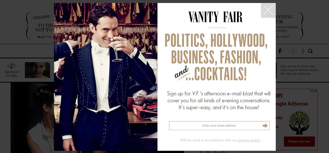 """A tak zbiera adresy internetowe wydanie """"Vanity Fair"""""""