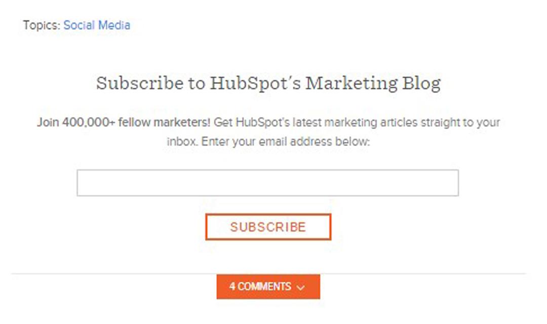 Hubspot (platforma do inbound marketingu) na swoim blogu zachęca do subskrypcji newslettera, umieszczając informację pod każdym postem