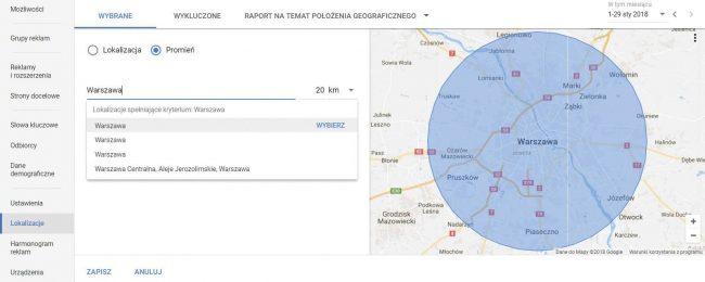 Kampania AdWords - wybór lokalizacji w ustawieniach - Gdy ograniczają cię koszty