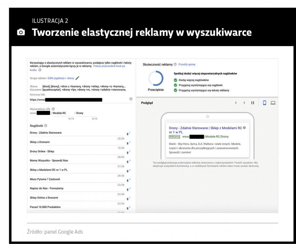 Interfejs systemu: Tworzenie elastycznej reklamy Google Ads
