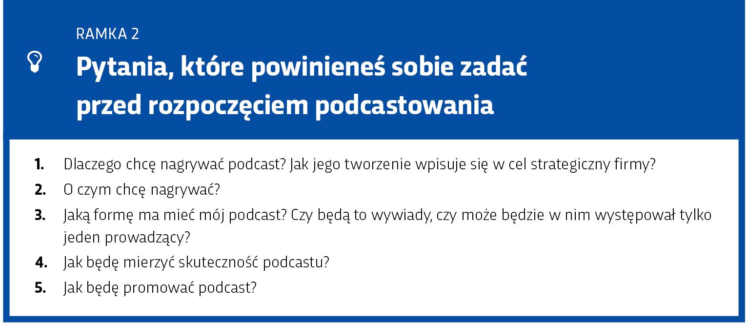Ramka: Pytania przed rozpoczęciem podcastowania