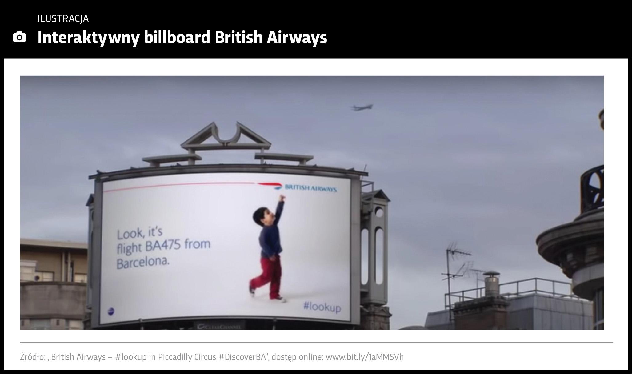 Zdjęcie przedstawia interaktywny billboard British Airways