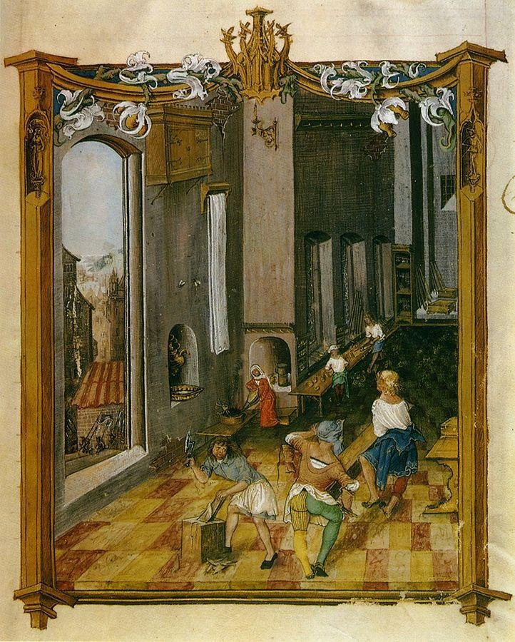 Pracownia snycerza karta z kodeksu Baltazara Behema