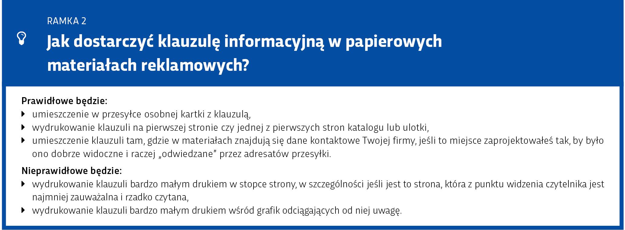 Ramka: Klauzula informacyjna na papierze