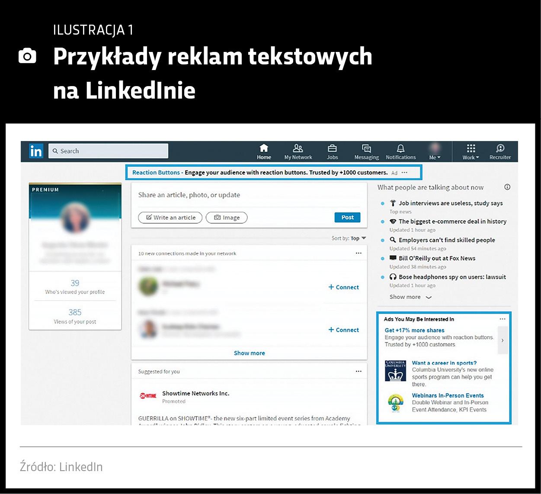 Przykłady reklam tekstowych LinkedIn