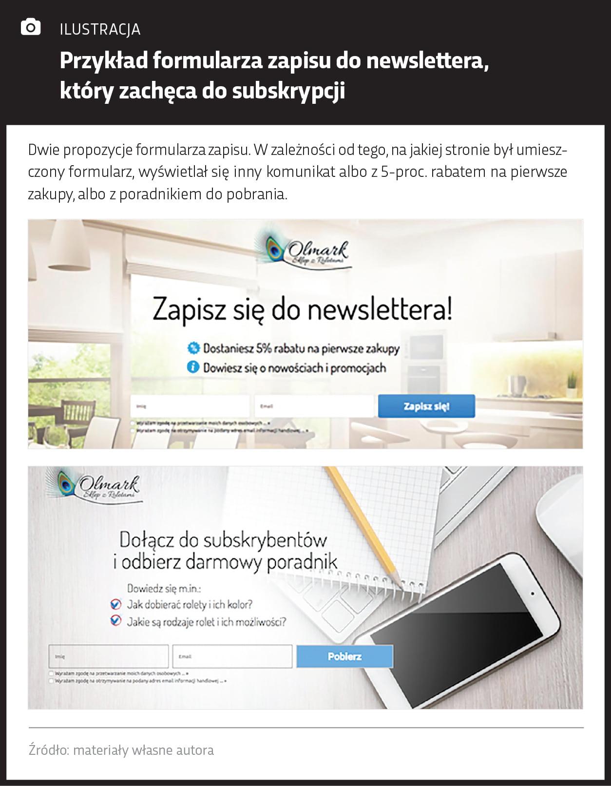 Przykład formularza zapisu do newslettera