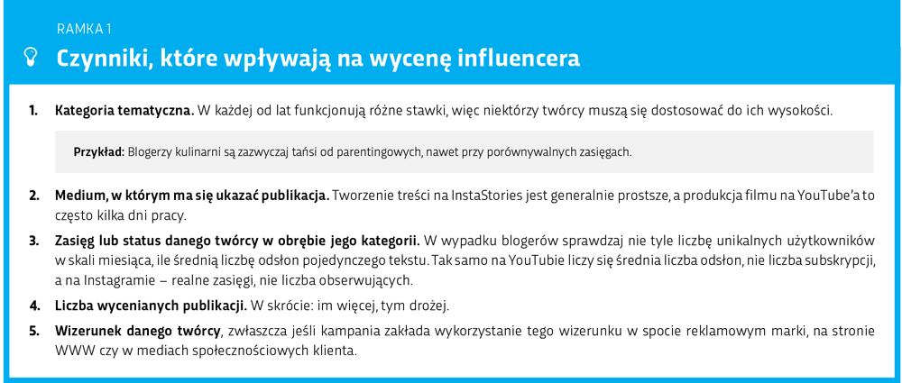 Co wpływa na wycenę influencera