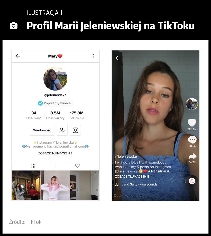 Profil influencera na TikToku