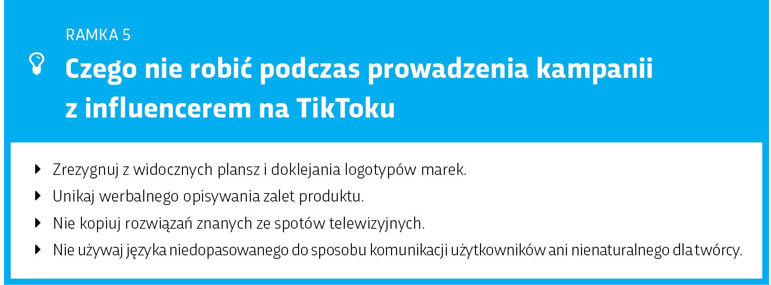 Błędne działania influencer-marketingowe na TikToku