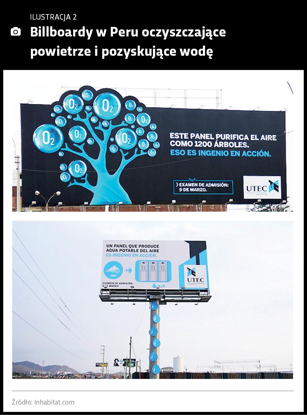Billboardy w Peru oczyszczające powietrze i pozyskujące wodę