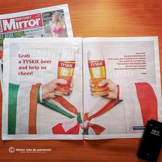 Reklama marki Tyskie Kompanii Piwowarskiej przed meczem z Irlandią